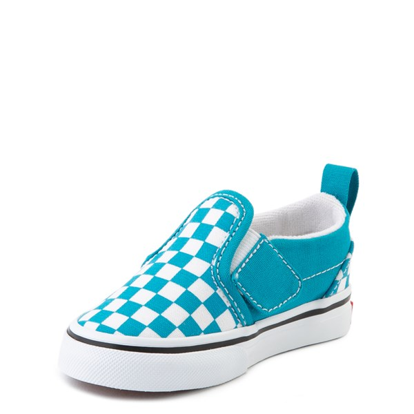 alternate view Vans Slip On Checkerboard Skate Shoe - Baby / Toddler - Caribbean Sea / WhiteALT3