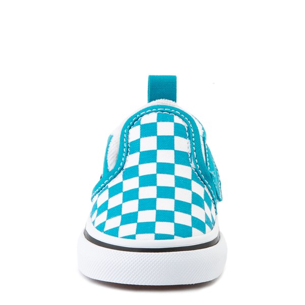 alternate view Vans Slip On Checkerboard Skate Shoe - Baby / Toddler - Caribbean Sea / WhiteALT4