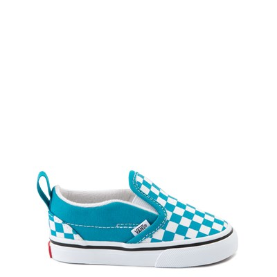 Main view of Vans Slip On Checkerboard Skate Shoe - Baby / Toddler - Caribbean Sea / White