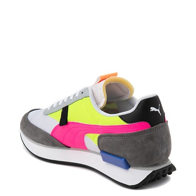 Alternate view of Womens Puma Future Rider Play On Athletic Shoe - White / Yellow / Pink / Gray
