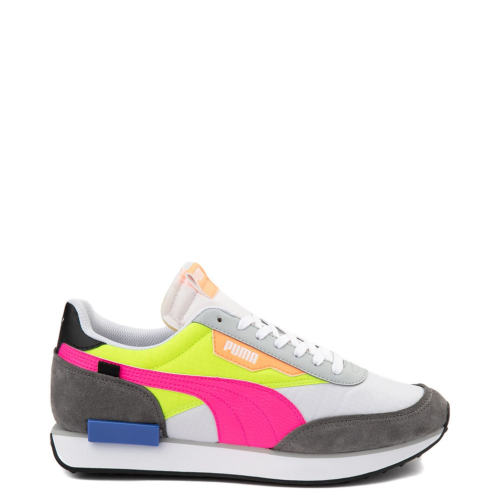 Womens Puma Future Rider Play On Athletic Shoe - White / Yellow / Pink / Gray