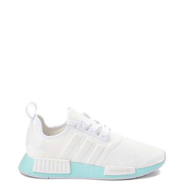 Main view of Womens adidas NMD R1 Athletic Shoe - White / Clear Aqua