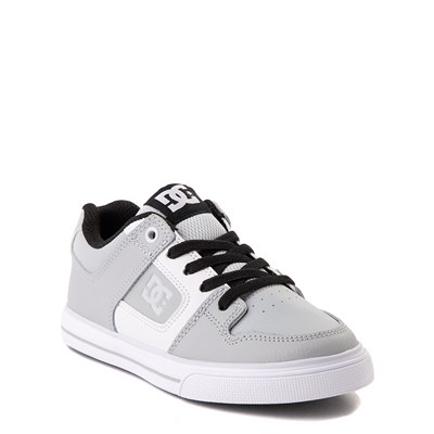 Alternate view of DC Pure Elastic Skate Shoe - Little Kid / Big Kid - Gray / White