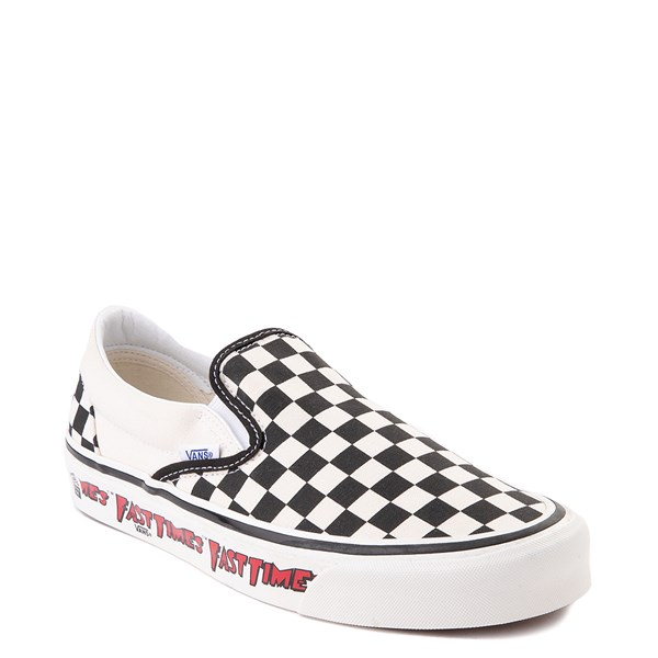 alternate view Vans Anaheim Factory Slip On Fast Times Checkerboard Skate Shoe - Black / WhiteALT1