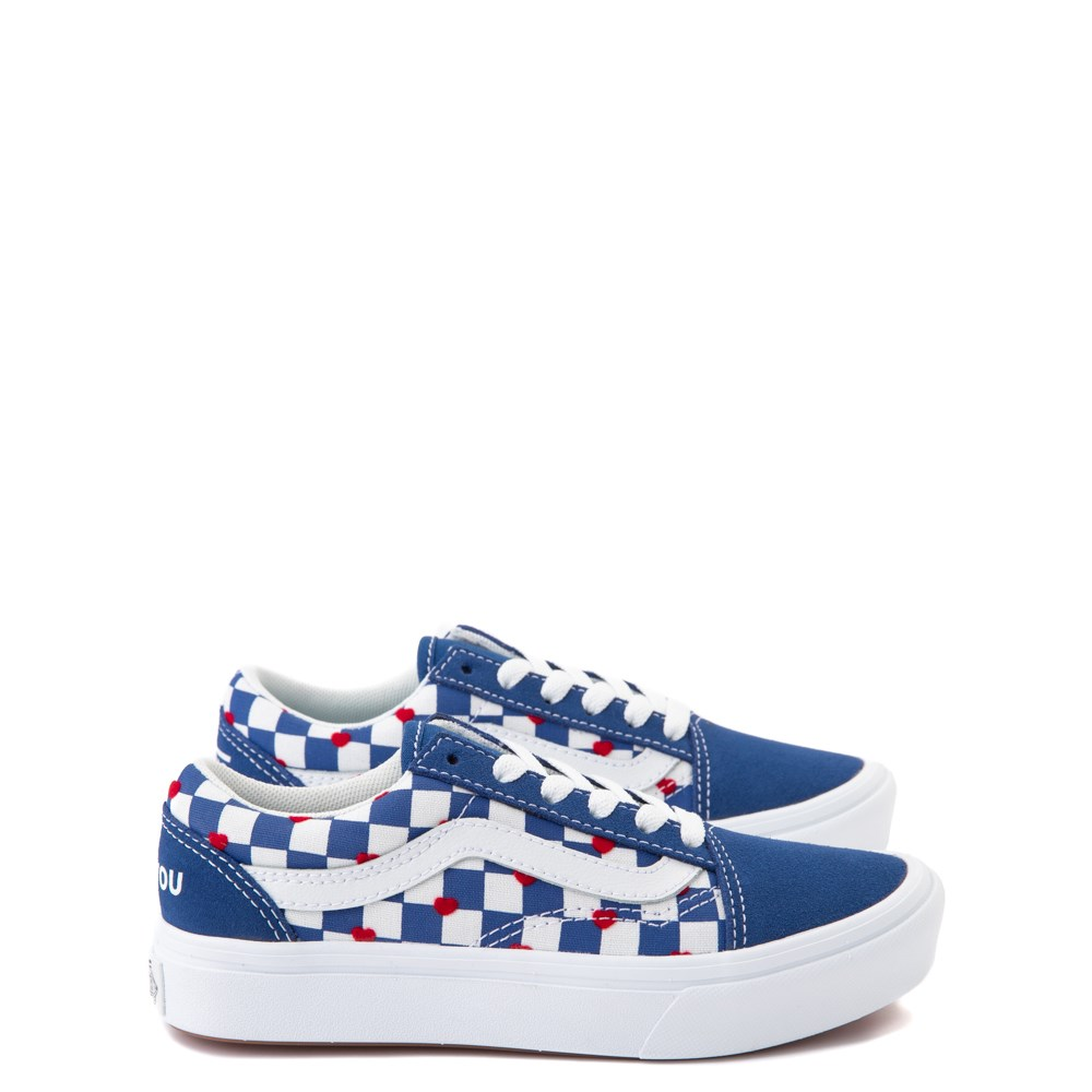 Vans Old Skool ComfyCush® Autism Awareness Checkerboard Skate Shoe - Blue / White