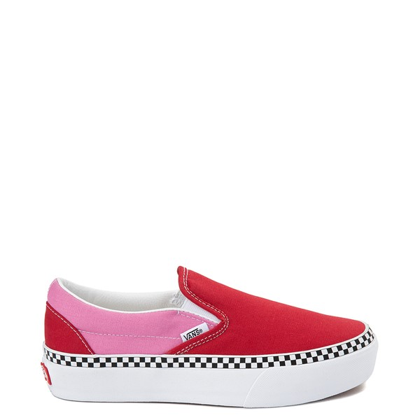 Main view of Vans Slip On Platform Skate Shoe - Chili Pepper / Fuchsia