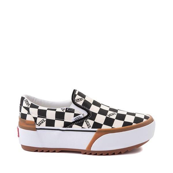 Main view of Vans Slip On Stacked Checkerboard Skate Shoe - Black / White