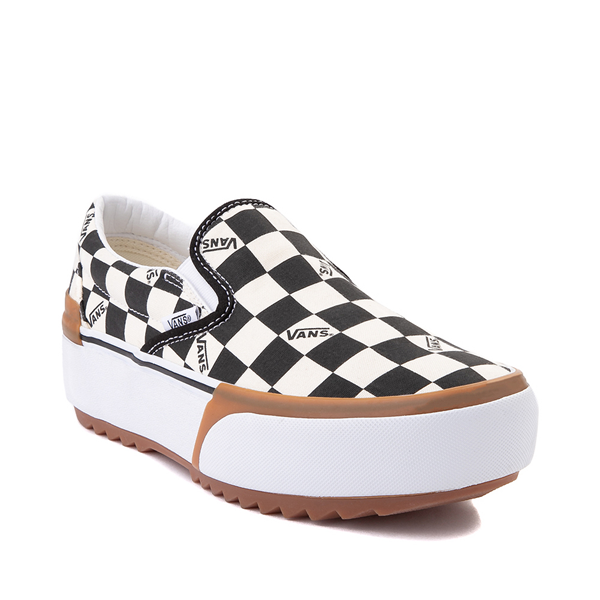 alternate view Vans Slip On Stacked Checkerboard Skate Shoe - Black / WhiteALT5