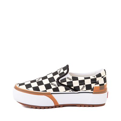 Alternate view of Vans Slip On Stacked Checkerboard Skate Shoe - Black / White