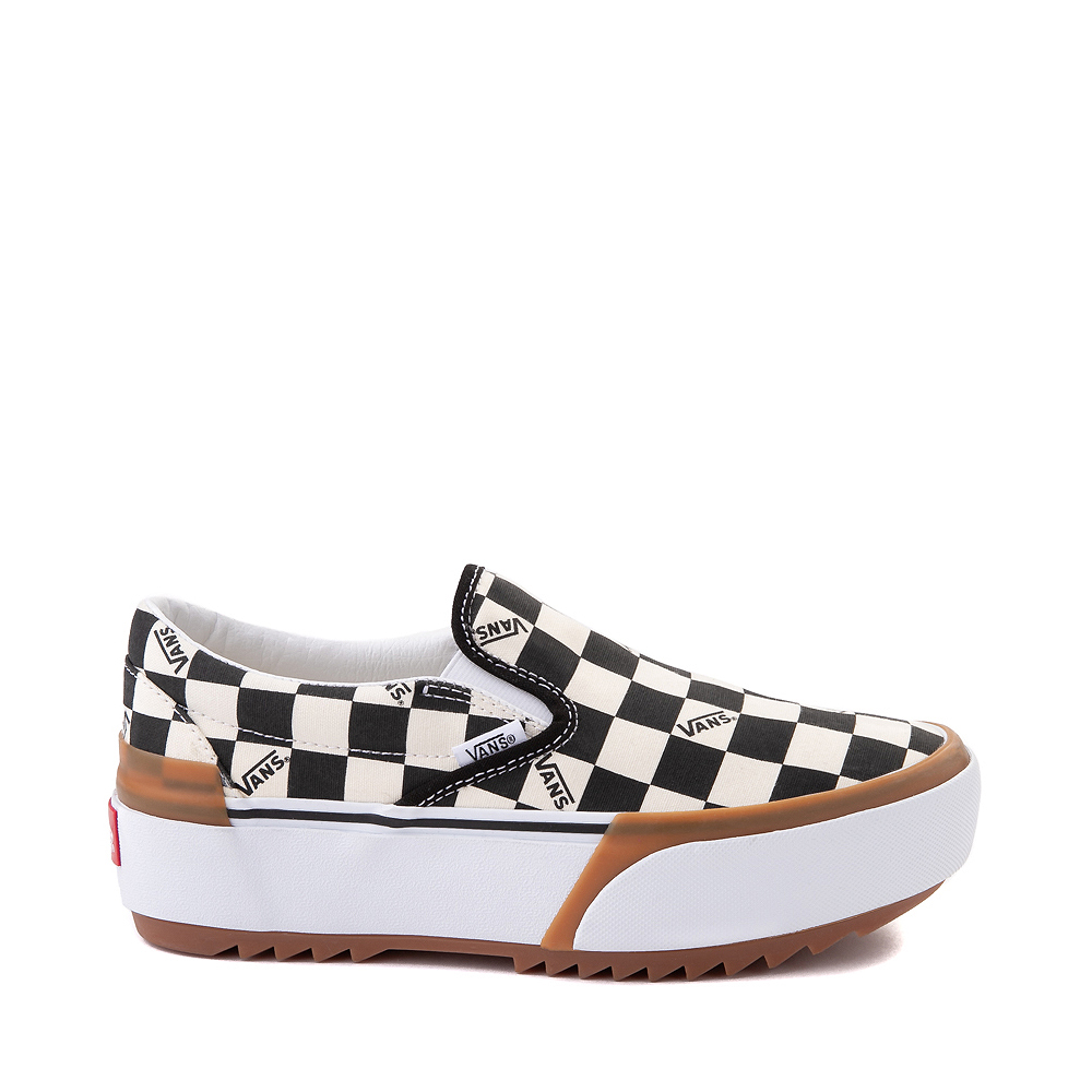 Vans Slip On Stacked Checkerboard Skate Shoe - Black / White