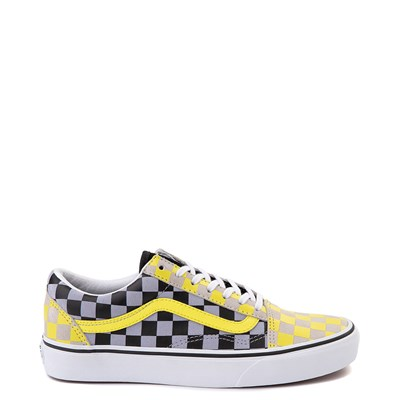 Main view of Vans Old Skool Checkerboard Skate Shoe - Yellow / Gray / Black