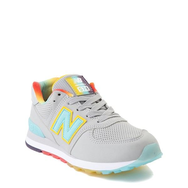 alternate view New Balance 574 Athletic Shoe - Little Kid - Light Aluminum / Newport BlueALT1