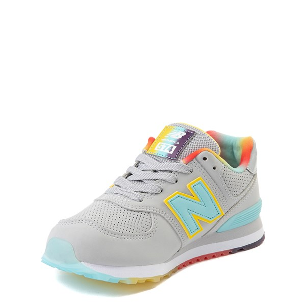 alternate view New Balance 574 Athletic Shoe - Little Kid - Light Aluminum / Newport BlueALT3