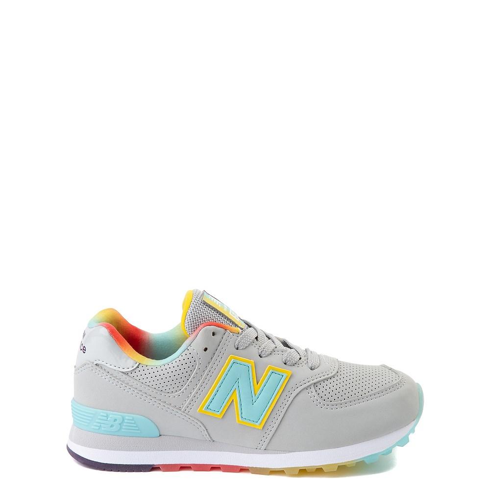 New Balance 574 Athletic Shoe - Big Kid - Light Aluminum / Newport Blue