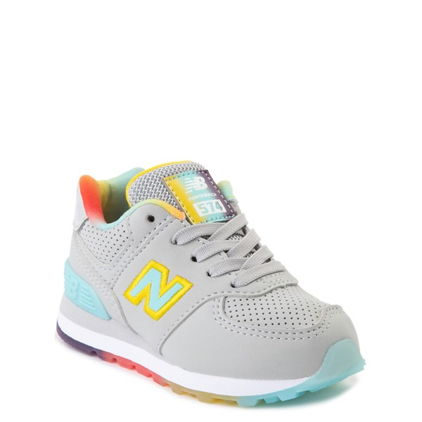 alternate view New Balance 574 Athletic Shoe - Baby / Toddler - Light Aluminum / Newport BlueALT1