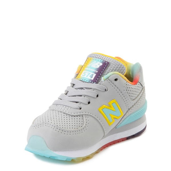 alternate view New Balance 574 Athletic Shoe - Baby / Toddler - Light Aluminum / Newport BlueALT3