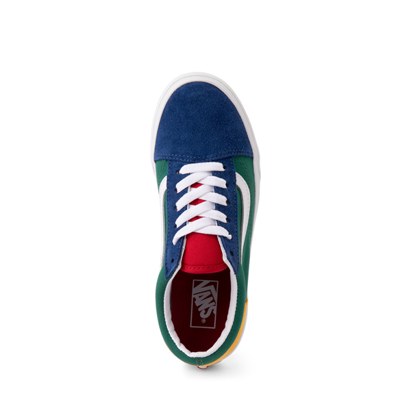alternate view Vans Old Skool Color-Block Skate Shoe - Little Kid - Blue / Green / YellowALT2