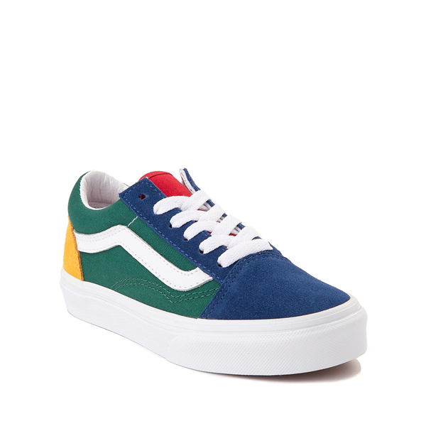 alternate view Vans Old Skool Color-Block Skate Shoe - Little Kid - Blue / Green / YellowALT5