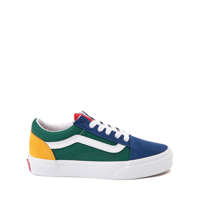 Main view of Vans Old Skool Color-Block Skate Shoe - Little Kid - Blue / Green / Yellow