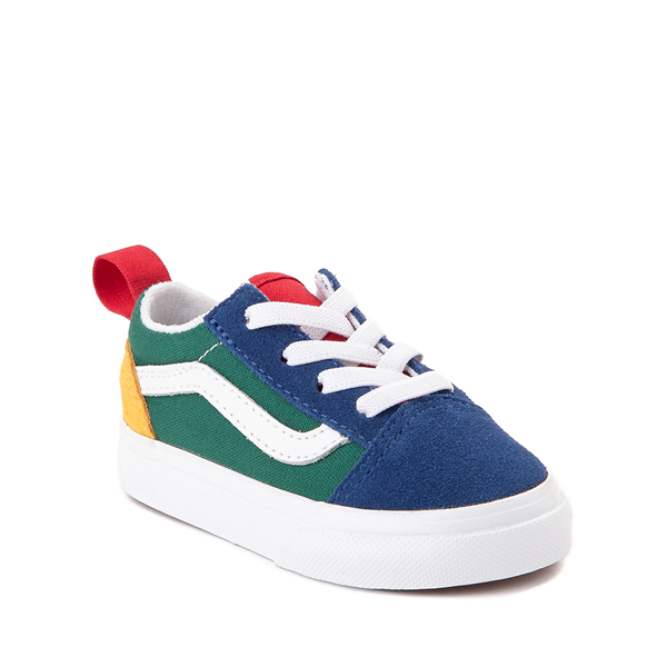 alternate view Vans Old Skool Color-Block Skate Shoe - Baby / Toddler - Blue / Green / YellowALT5