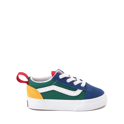 Main view of Vans Old Skool Color-Block Skate Shoe - Baby / Toddler - Blue / Green / Yellow