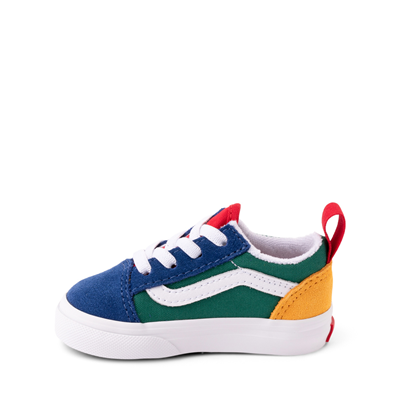 Alternate view of Vans Old Skool Color-Block Skate Shoe - Baby / Toddler - Blue / Green / Yellow