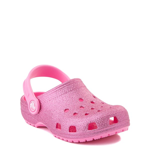 alternate view Crocs Classic Glitter Clog - Little Kid - Pink LemonadeALT1