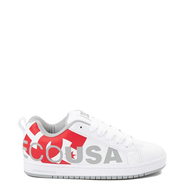 Mens DC Court Graffik SE Skate Shoe - White / Gray / Red