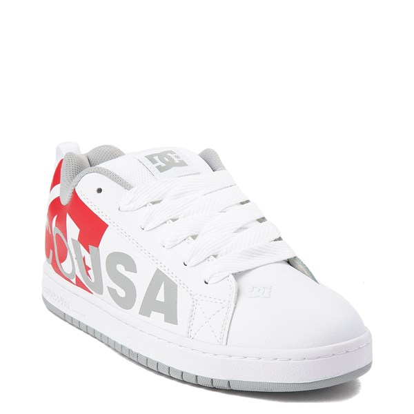 alternate view Mens DC Court Graffik SE Skate Shoe - White / Gray / RedALT1