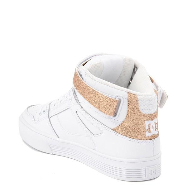 alternate view Womens DC Pure Hi V Skate Shoe - White / GoldALT2