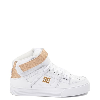 Main view of Womens DC Pure Hi V Skate Shoe - White / Gold