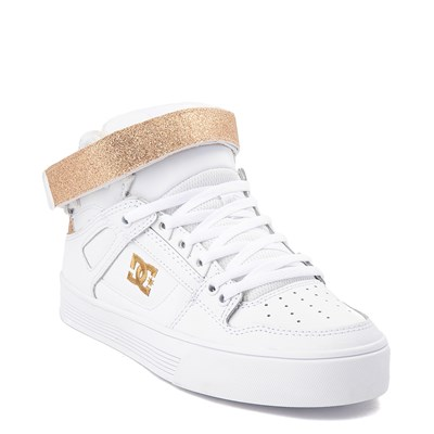 Alternate view of Womens DC Pure Hi V Skate Shoe - White / Gold