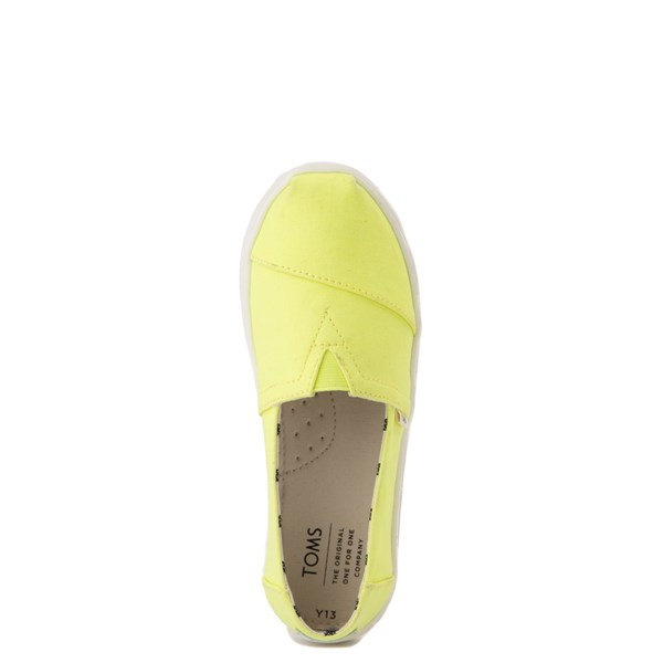 alternate view TOMS Classic Slip On Casual Shoe - Little Kid / Big Kid - Neon YellowALT4B