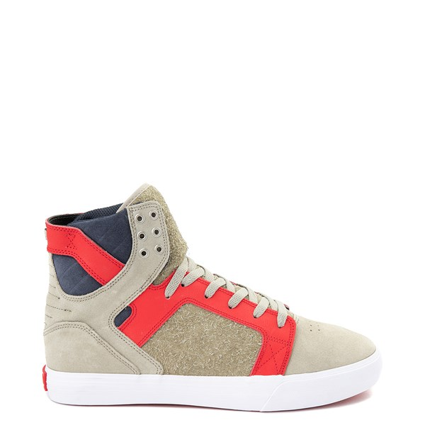 Mens Supra Skytop Hi Skate Shoe - Stone / Risk Red