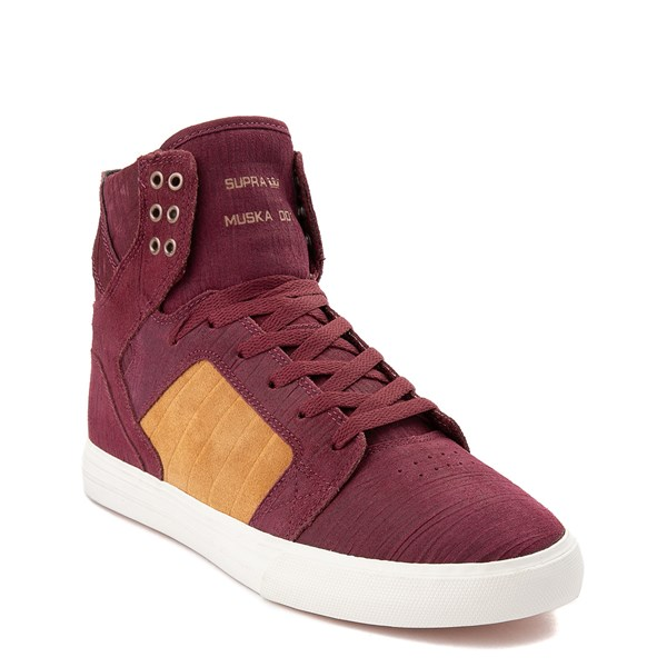 alternate view Mens Supra Skytop Hi Skate Shoe - Wine Red / TanALT1