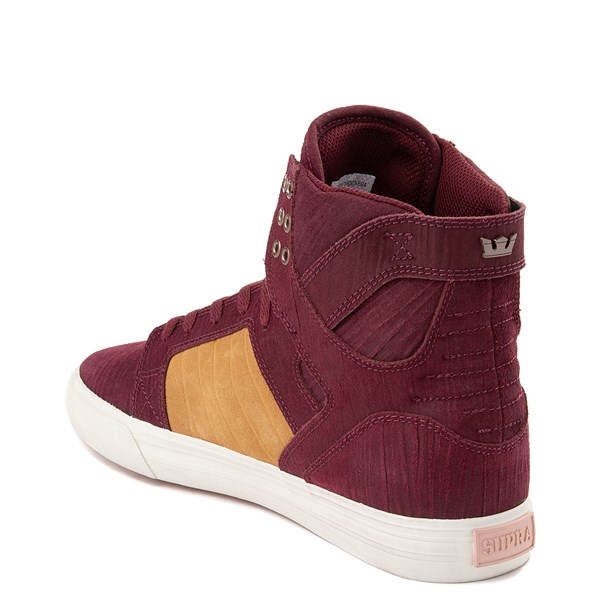 alternate view Mens Supra Skytop Hi Skate Shoe - Wine Red / TanALT2