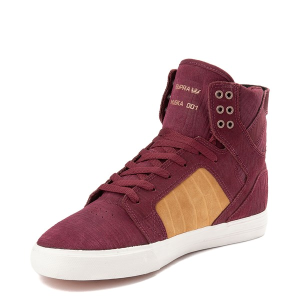 alternate view Mens Supra Skytop Hi Skate Shoe - Wine Red / TanALT3