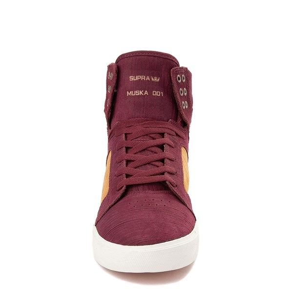alternate view Mens Supra Skytop Hi Skate Shoe - Wine Red / TanALT4