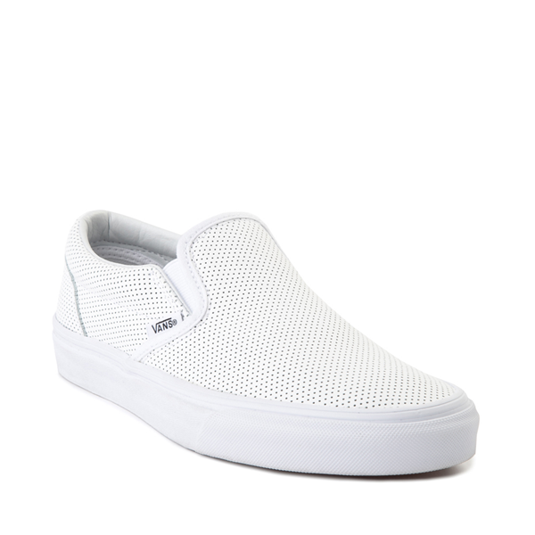 alternate view Vans Slip On Leather Perf Skate Shoe - WhiteALT5