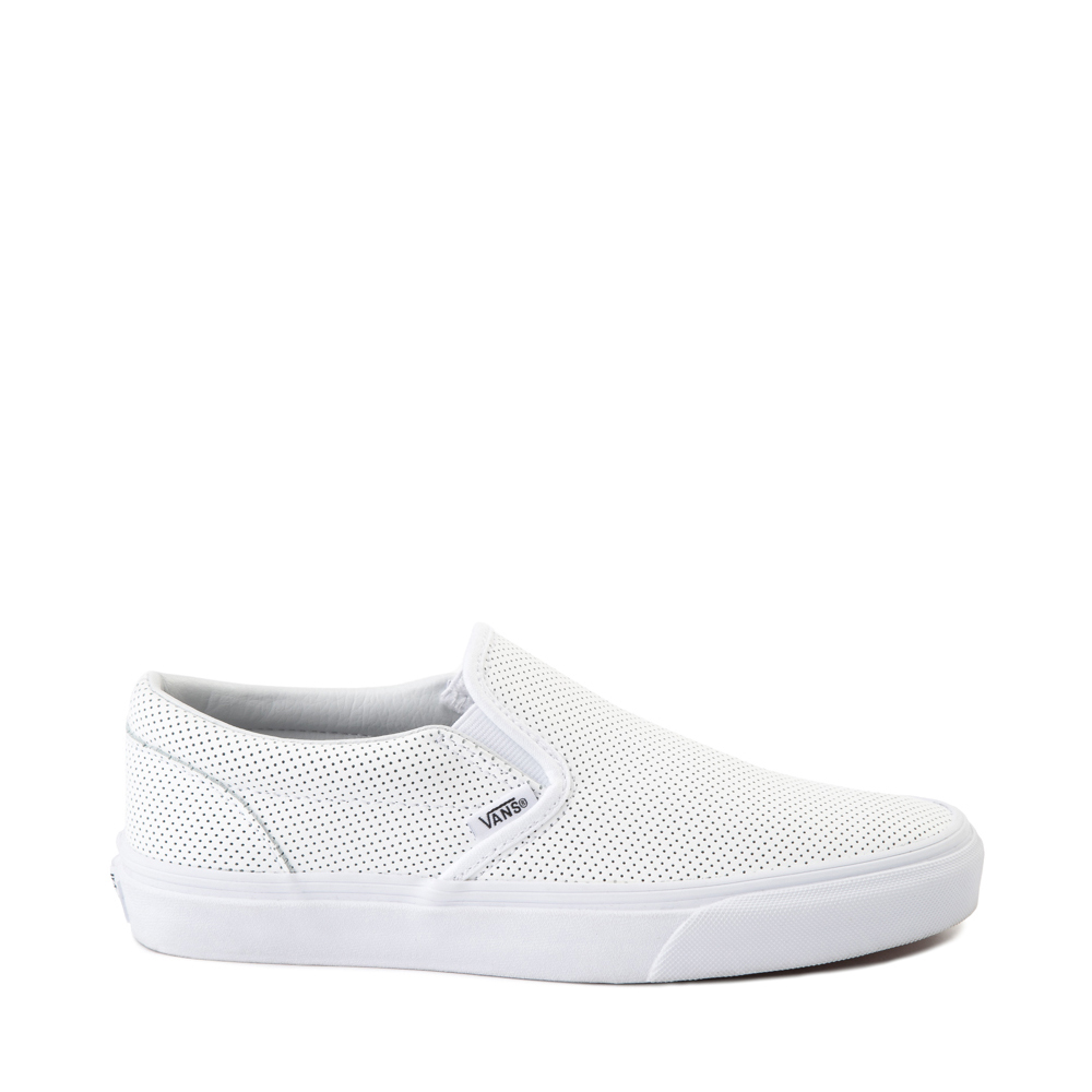 Vans Slip On Leather Perf Skate Shoe - White