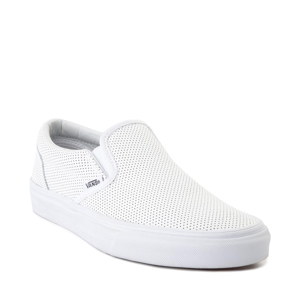 Vans Slip On Leather Perf Skate Shoe - White