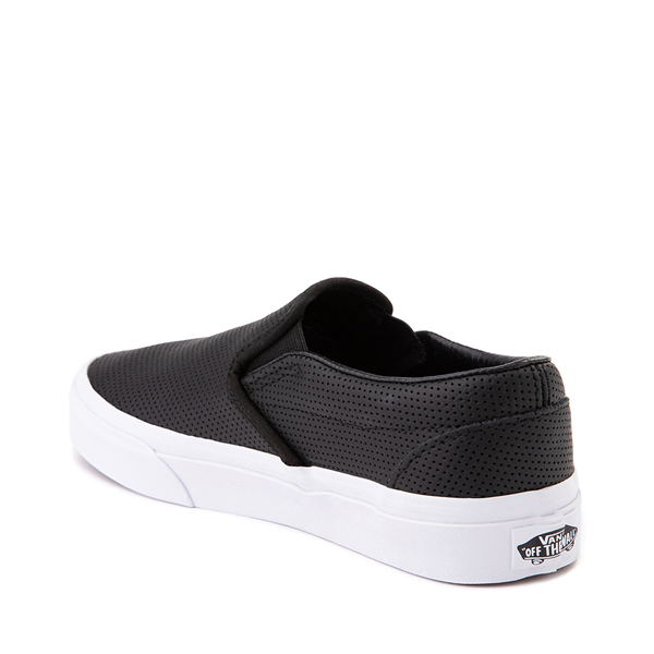 alternate view Vans Slip On Leather Perf Skate Shoe - BlackALT1