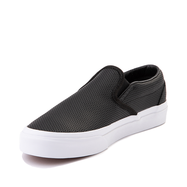 alternate view Vans Slip On Leather Perf Skate Shoe - BlackALT2
