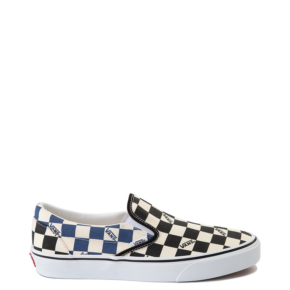 Vans Slip On Big Checkerboard Skate Shoe - Black / Blue / White