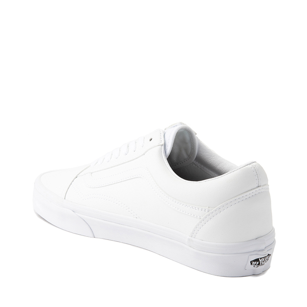alternate view Vans Old Skool Leather Skate Shoe - White MonochromeALT1