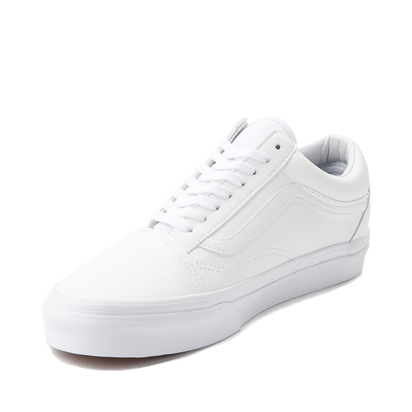 alternate view Vans Old Skool Leather Skate Shoe - White MonochromeALT2