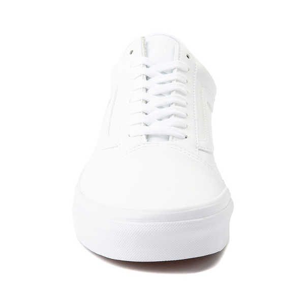 alternate view Vans Old Skool Leather Skate Shoe - White MonochromeALT4
