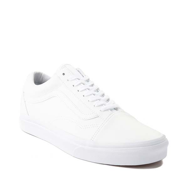 alternate view Vans Old Skool Leather Skate Shoe - White MonochromeALT5
