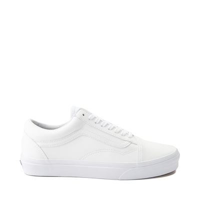 Main view of Vans Old Skool Leather Skate Shoe - White Monochrome