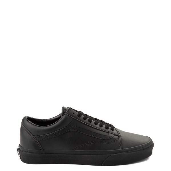 Main view of Vans Old Skool Leather Skate Shoe - Black Monochrome